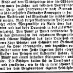 Zeitungsbericht von der Jochüberquerung (Wiener Zeitung vom 21. Juli 1835; ähnlicher Artikel in der Klagenfurter Zeitung vom 22. Juli 1835)